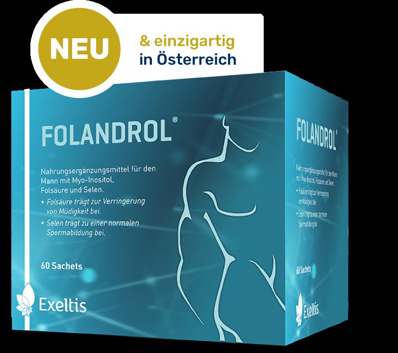 blaue Produktverpackung von Folandrol